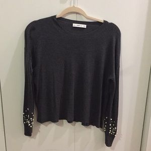 Zara grey sweater with pearl detail on sleeve